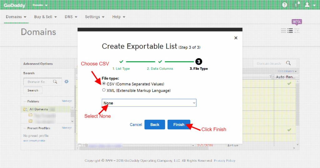 Step 10 - Choose CSV and None and click Finish