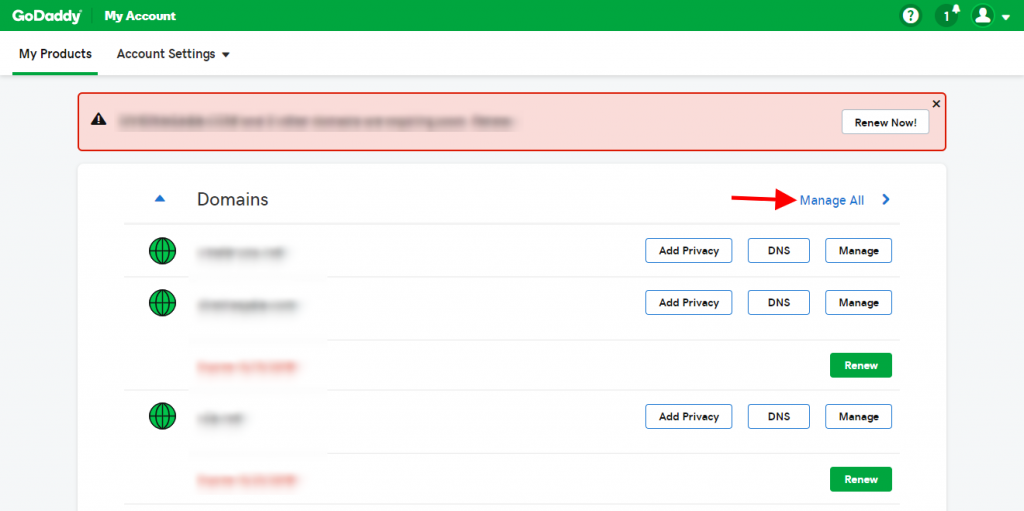 Step 2 - Click on Manage All