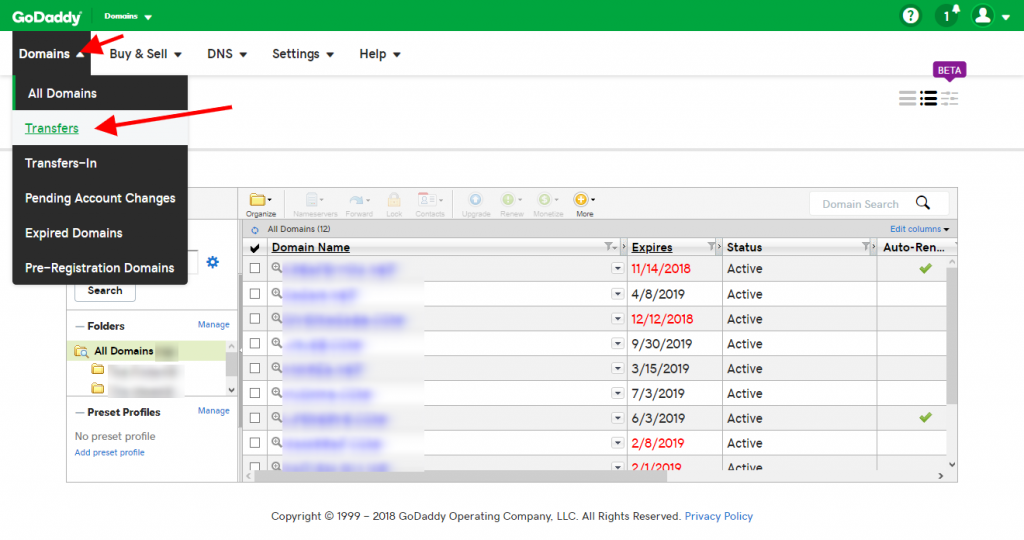 Step 20 - Go to godaddy account and click on Domains and Transfers