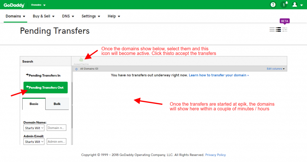 Step 21 - Click Pending transfers out select the domains and click Accept